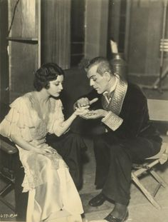 "damsellover: "" Jacqueline Wells (Julie Bishop) with Boris Karloff on the set of…"