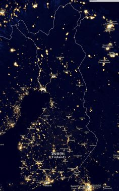 Finland in lights! Seen from space Suomi valossa Lappland, Lofoten, Helsinki, Meanwhile In Finland, Finnish Language, Holland, Thinking Day, Terra, Cosmos