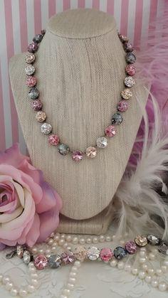 NEW 12mm Genuine Swarovski Crystal Choker necklace. BASHFUL. Versatile color pattern that looks good on all Skin tones.