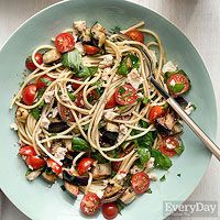 This is a summery take on a favorite spicy Sicilian recipe. In this version, fried eggplant is replaced with grilled eggplant, then tossed with halved cherry tomatoes and cold spaghetti.  #sicilian-recipes  #sicilia #sicily   #italian-food