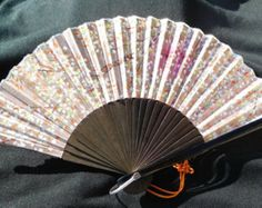 Small Pleated Hand Fan with Hand Painted Silk Leak and Black Wood Blades -    Edit Listing  - Etsy