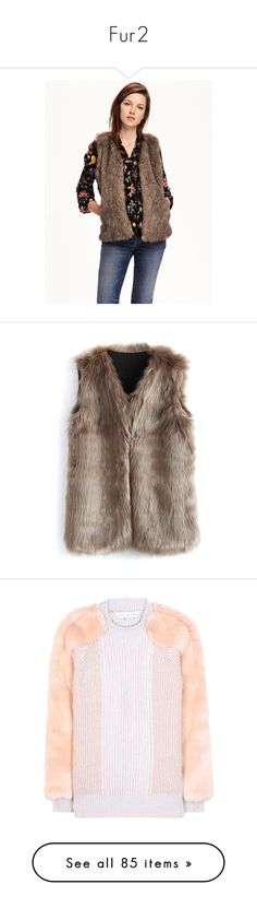 """Fur2"" by mistd on Polyvore featuring outerwear, vests, totally natural, faux fur vests, faux fur waistcoat, white waistcoat, white faux fur vest, old navy vest, jackets and tops"