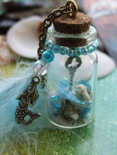 The Mermaid's Key Miniature bottle necklace Mini Bottle, Mini Glass Bottles, Small Bottles, Bottles And Jars, Bottle Art, Glass Vials, Magic Bottles, Bottle Jewelry, Bottle Charms