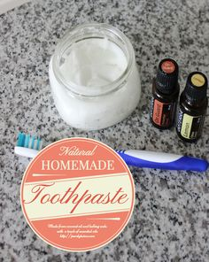 See how to make the easiest and BEST natural homemade toothpaste made from coconut oil and baking soda and #doterra essential oils to clean our teeth and keep cavities away. Been using it for a few years and our teeth are in perfect health