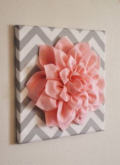 Wall Flower Light Pink Dahlia on Gray and White by bedbuggs