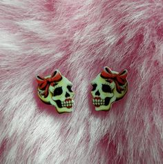 Cute and Tiny Old School Girly Skull Earrings