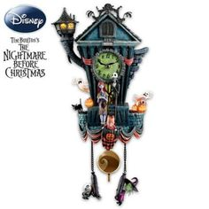 Handcrafted sculptural cuckoo clock features Jack Skellington, Sally, LED lighting, beloved movie music, Zero popping out on the hour and much more.