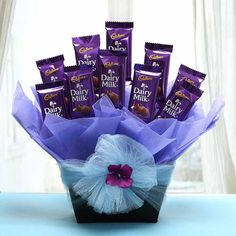 Make today special with a same day delivery gifts in the India! Shop our unique selection collection of same day gifts for birthday, get well or just because. Same day gift baskets include fruit baskets, candy bouquet and teddy bears. Chocolate Bouquet Diy, Chocolate Basket, Chocolate Hampers, Dairy Milk Chocolate, Cadbury Dairy Milk, Cadbury Chocolate, Happy Chocolate Day, Chocolate Gifts, Chocolate Lovers