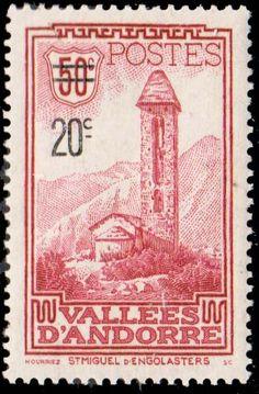 Andorra French Scott #64 1935 50c St Miguel Overprinted 20c. Unused lightly hinged.