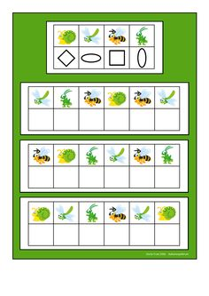 Board for the insect visual perception game. Find the belonging tiles on… Dyslexia Activities, Brain Activities, Montessori Activities, Activities For Kids, Preschool Education, Preschool Math, Teaching Kids, Coding For Kids, Math For Kids