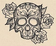 Tattoo your clothes, accessories, decor, and more with this classic, light-stitching design! Sugar Skull Design, Skull Tattoo Design, Tattoo Designs, Tattoo Ideas, Sugar Skull Tattoos, Sugar Skulls, Urban Threads, Cool Tattoos, Awesome Tattoos