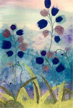 Bluebells - Textile mixed media by Christine Pettet Art www.facebook.com/christinepettetart