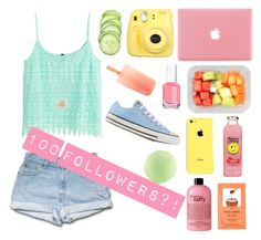 """""""Pastels ; THANK YOU FOR 100 FOLLOWERS!!"""" by oliviajob ❤ liked on Polyvore featuring philosophy, H&M, Essie, Daisy Jewellery and Converse"""