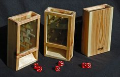 Game Dice Tower - Solid Figured Maple w/ 5 dice on Etsy, $35.00