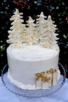 Winter Wonderland Cake, with tutorial! It's just buttercream and white chocolate with gold dust and pearls.