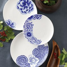 Wall Art - Cobalt Flower Plates | SERRV from Vietnam. Set of 3 $ 98