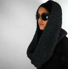 Cowl super chunky antraciet  unisex recycled cotton by kitsdiezijn, $65,00