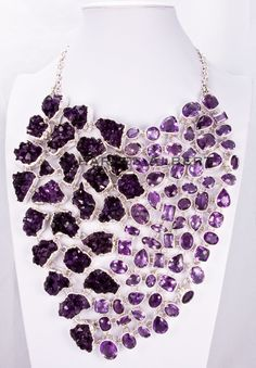 Style# LBUN14: Rough & Faceted Amethyst set in sterling silver. Retail $8,999