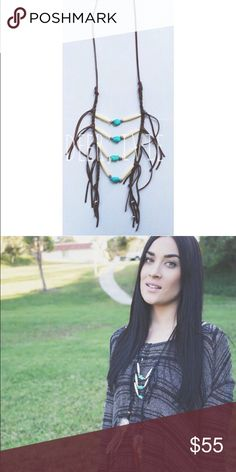 Boho turquoise fringe necklace [rib cage necklace] Handmade. Real leather and faux turquoise stone and faux Bone. Can choose black or brown leather and with or without feathers. Not brand listed - used for exposure. Spell & The Gypsy Collective Jewelry Necklaces