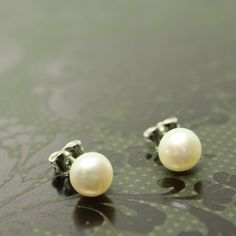 Classic cultured pearl stud earrings, white, sterling silver post, 6mm, handmade artisan jewelry at www.Shanghaitai.com $13
