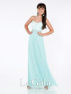 Le Gala - 116574 - Strapless stretch mesh A-line gown with sweetheart neckline, lace covered bodice, hand-beaded waist, center front gathered skirt. Removable straps included.Sizes:0 – 20Colors:Mint, Black, Coral