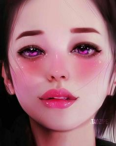 Kai Fine Art is an art website, shows painting and illustration works all over the world. Digital Art Girl, Digital Portrait, Portrait Art, Portraits, Art Sketches, Art Drawings, Girly Drawings, Beautiful Fantasy Art, Blue Art