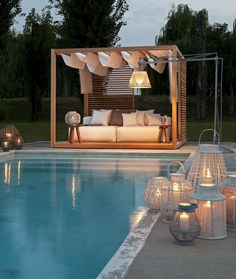 19 Stunning Swimming Pool Designs for Your Backyard - decoratop Canopy Outdoor, Outdoor Pool, Outdoor Decor, Outdoor Areas, Outdoor Cabana, Pvc Canopy, Canopy Crib, Hotel Canopy, Canvas Canopy