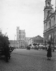 Warsaw view from Grzybowski Square towards Polish Telephone Company Beautiful Buildings, Warsaw, Telephone, Poland, Louvre, Street View, Lost, Black And White, History
