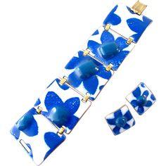 SOLD - Kay Denning Enamel and Fused Glass Blue Flower Bracelet and Earring Set - Kay Denning Enamel and Fused Glass Blue Flower Bracelet and Earring Set