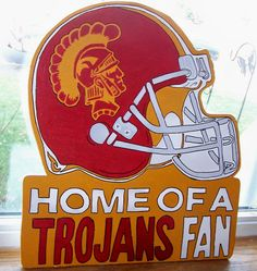 Hand Painted USC Trojan Wooden Sport Sign by USFSportSigns on Etsy, $23.50