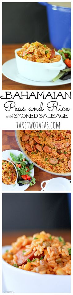 Need an easy, filling, one-pot meal that is ready in less than 30 minutes? I know as a working mom I need all the help I can get in the kitchen. This one-pot dish combines smoked sausage, pigeon peas,