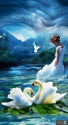 Beautiful Paintings Of Nature, Beautiful Landscape Wallpaper, Beautiful Dark Art, Beautiful Nature Pictures, Nature Paintings, Beautiful Birds, Beautiful Landscapes, Swan Pictures, Unicorn Pictures