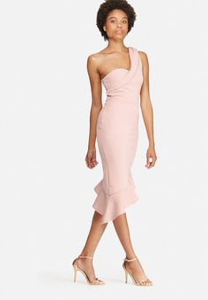 Stock up on big-occasion fashion by adding this unique bodycon dress. The most noticeable feature is the one-shoulder design, and it's constructed from scuba-like fabric. Other features include a zip-up opening on the side and ruffle details at the hem. This is a showpiece, so keep it simple and add a minimal pair of heels to complement the dress. Minimal Pair, Dusty Pink, Zip Ups, One Shoulder, Bodycon Dress, Pairs, Formal Dresses, Big, Simple