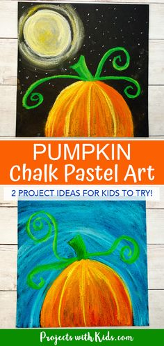 Kids will learn easy chalk pastel techniques to create this gorgeous pumpkin chalk pastel art done in 2 ways. This project can be used as an autumn art activity or Halloween project. Step by step tutorial makes this an easy and fun pastel art project! Chalk Pastel Art, Chalk Pastels, Chalk Art, Oil Pastels, Clay Art Projects, Projects For Kids, Kids Crafts, Halloween Painting, Halloween Art