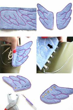 DIY} winged sneakers