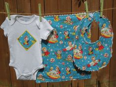 To the Moon - Space Baby gift set includes bib, burp cloth, onesie - available in size newborn - 24 months