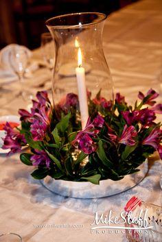 small candle, short centerpieces, astromeria purple flowers