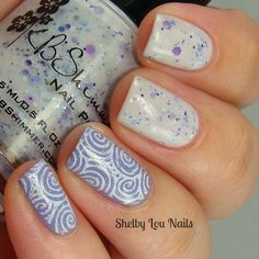 """Shelby Lou Nails - Stamping Saturday - """"Soft Swirls"""" - KBShimmer Meow Or Never, Hugs And Wishes, Eyes White Open - Vivid Lacquer VL 022 -  NM Northern Lights - With Flash"""