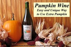 How to make pumpkin wine. Classic spices and a little creativity come together in an usual pumpkin recipe that's sure to be a conversation starter. (takes a whole year to complete fermentation - patience required! Homemade Wine Recipes, Homemade Liquor, Making Hard Cider, Wine Making, How To Make Pumpkin, How To Make Beer, Pumpkin Wine, Peach Wine, Spiced Wine