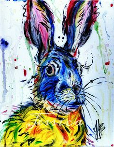Original Colorful Abstract Bunny Painting by AnnLeeBArt on Etsy