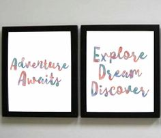 Adventure Prints, Explore, Dream, Discover Print, Instant Download, Watercolor print, Teacher Decor, Nursery Decor