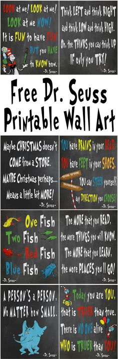 Free Dr. Seuss Printables For Decorating A Classroom Or Nursery | Glitter \'N\' Spice