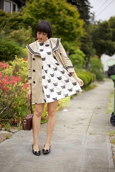 love the cat print! #dress #spring (via http://www.flickr.com/photos/calivintage/)