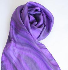 Purple Silk Scarf. Purple Marble.  Hand Painted Silk by silkiness