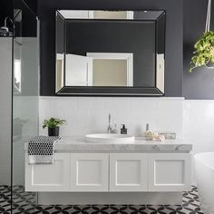 We love the moody tones in this gorgeous bathroom featuring our London vanity. Fabulous work ADP ( We love the moody tones in this gorgeous bathroom featuring our London vanity. Hampton Style Bathrooms, Large Bathrooms, Amazing Bathrooms, Small Bathroom, Bathroom Ideas, Bathroom Vintage, Bathroom Hacks, Bathroom Laundry, Luxury Bathrooms