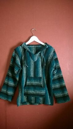 Vintage 90s Mexican jumper pullover woven green Hoodie Striped Jumper VINTAGE 90s PULLOVER  MEXICAN small Hippie Grunge Pullover Mexican S by VirtageVintage on Etsy