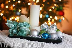 Put some ornaments in it: add ornaments and pillar candles to a mirrored tray for simple Christmas coffee table decor. (And more ideas for simple holiday decorating!)