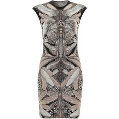 Alexander McQueen Grey Dragonfly Jacquard Pencil Dress ($1,260) via Polyvore