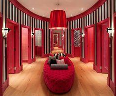 ♥ black & white stripes, hot pink, tufted furniture, light. Favorite.