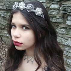 Silver Crown - Bridal Crown - Rhinestone Crown - Queen Costume - Ren Faire - Bridal Jewelry Tiara Circlet - Renaissance Wedding Handfasting - Handmade Jewelry - Ren Faire - DRAVYNMOOR